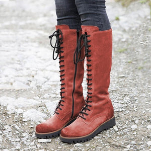 Women's Lace-Up Knee-High Artificial Leather Tall Boots