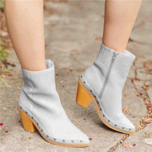 Women Elegant Artificial Leather Chunky Heel Ankle Boots
