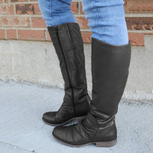 Load image into Gallery viewer, Zipper Pu LeatherLow Heel Womens Long Boots