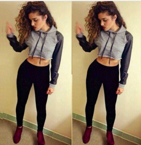 2017 Hot Sexy Women Long Sleeve Hoodie Soft Cotton Blend Sweatshirt Crop Top Coat Fashion Pullover Jumper Hooded Sweatshirts