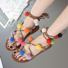 Load image into Gallery viewer, Women Pompom Summer Daily Lace Up Flat Heel Sandals