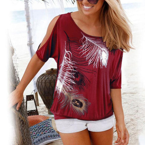 2020 Women Casual Summer T Shirt Short Batwing Sleeve Loose Tops Cold Shoulder Feather Print Tee shirt Plus Size T-Shirt