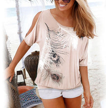 Load image into Gallery viewer, 2020 Women Casual Summer T Shirt Short Batwing Sleeve Loose Tops Cold Shoulder Feather Print Tee shirt Plus Size T-Shirt