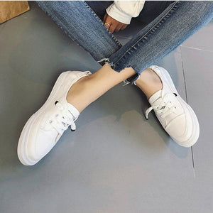 Womens Pu Casual Spring/fall Flat Heel Lace-Up Sneakers