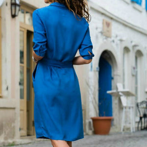 2020 New Summer Autumn  Women Three Quarter Long Blouse Dress  Fashion Ladies Turn-Down Collar Casual Loose Shirt Dress Vestidos