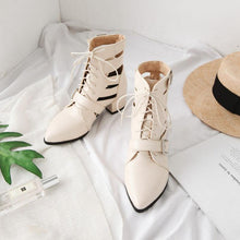 Load image into Gallery viewer, Woman Lace-up Adjustable Buckle Chunky Heel Daily Pointed Toe Sandals Boots