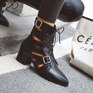 Woman Lace-up Adjustable Buckle Chunky Heel Daily Pointed Toe Sandals Boots