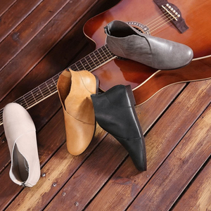 Leather All Season Flat Heel Ankle Boots