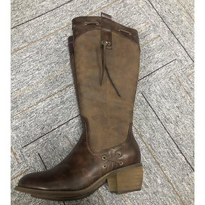 Women's flat thick zipper boots