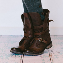 Load image into Gallery viewer, Low Heel Buckle Boots