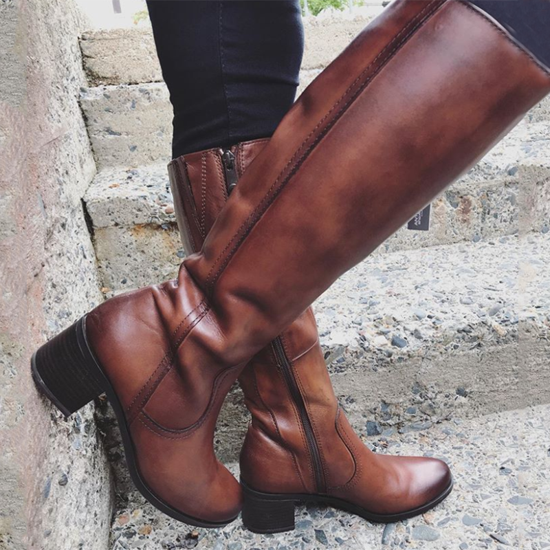 Brown Holiday Leather All Season Zipper Low Heel Boots