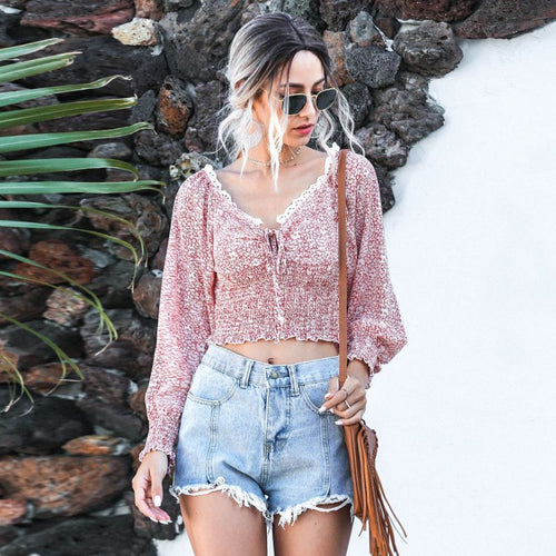2020 New Korean Lace-up Chiffon Lace Long Puff Sleeve Short Crop Tops Women High Waist Blouse Shirts