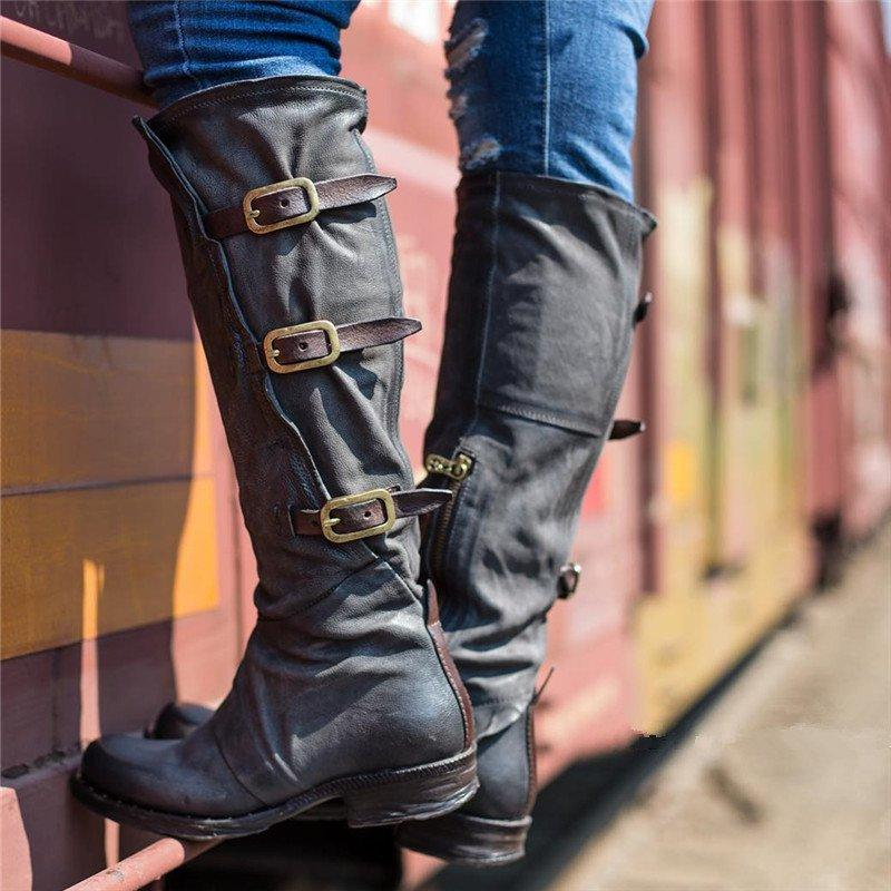 Women Vintage Low Heel Faux Leather Zipper Boots