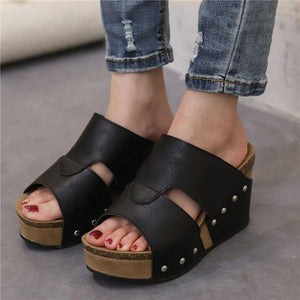 Women High Heel Wedges Peep Toe Platform Slippers