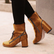 Load image into Gallery viewer, Zipper Decorative Chunky Heel Ankle Boots