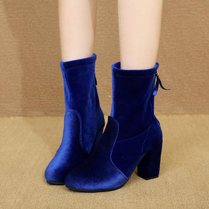 Elegant Back Zipper High Heel Suede Boots