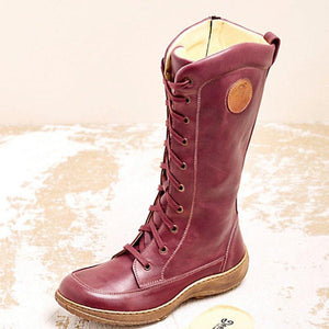 Women's casual lace-up zipper boots