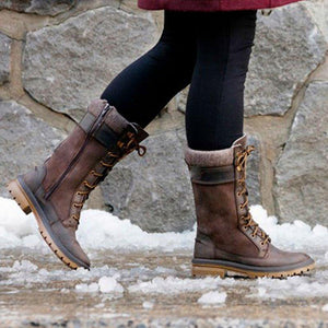 Winter Pu Flat Heel Knee Boots