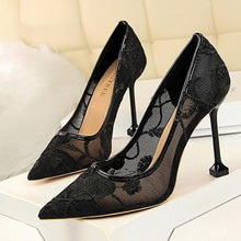 Load image into Gallery viewer, Sexy Lace Embroidery   Hollow Pointed Slim Heel Shoes