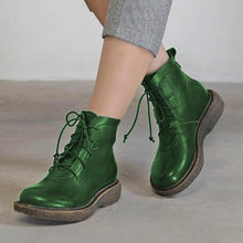 Load image into Gallery viewer, Flat Heel Pu Lace-Up All Season Boots Ankle Short Boots
