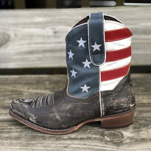 WOMEN'S AMERICAN BEAUTY  FLAG SHORTIE BOOTS