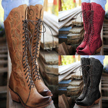 Load image into Gallery viewer, Lace-Up Winter Knee-High Boots Chunky Heel Artificial Leather Boots