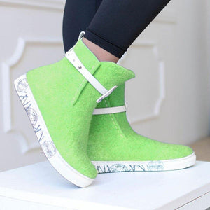 Women Winter Casual Slip-On Woolen Ankle Boots