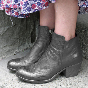 Women Block Heel Zipper Ankle Booties Vintage Round Toe Boots