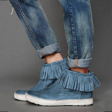 Load image into Gallery viewer, Fringe Sneakers Flat Heel Strappy Artificial Leather Sneakers