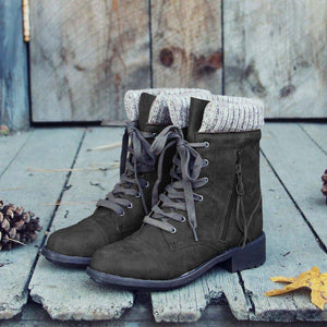 Women Round Toe Lace-Up Casual Chunky Heel PU Ankle Boots