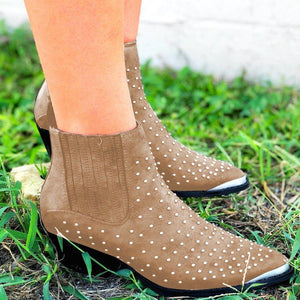 Studded Pointed Toe Ankle Boots Faux Suede Slip-On Women Booties