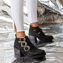 Load image into Gallery viewer, Adjustable Buckle Artificial Leather Boots Cut Out Buckle Booties