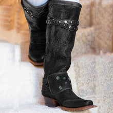 Load image into Gallery viewer, Women's Stylish Knee-High Boots Chunky Block Heel Western Cowboy Slip on Booties