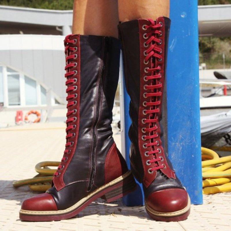 Lace-Up Artificial Leather Low Heel Mid Calf Womens Boots