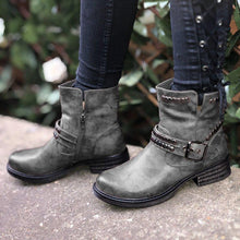 Load image into Gallery viewer, Rivet Buckle Strap Round Toe Womens Ankle Boots