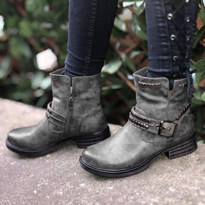 Rivet Buckle Strap Round Toe Womens Ankle Boots