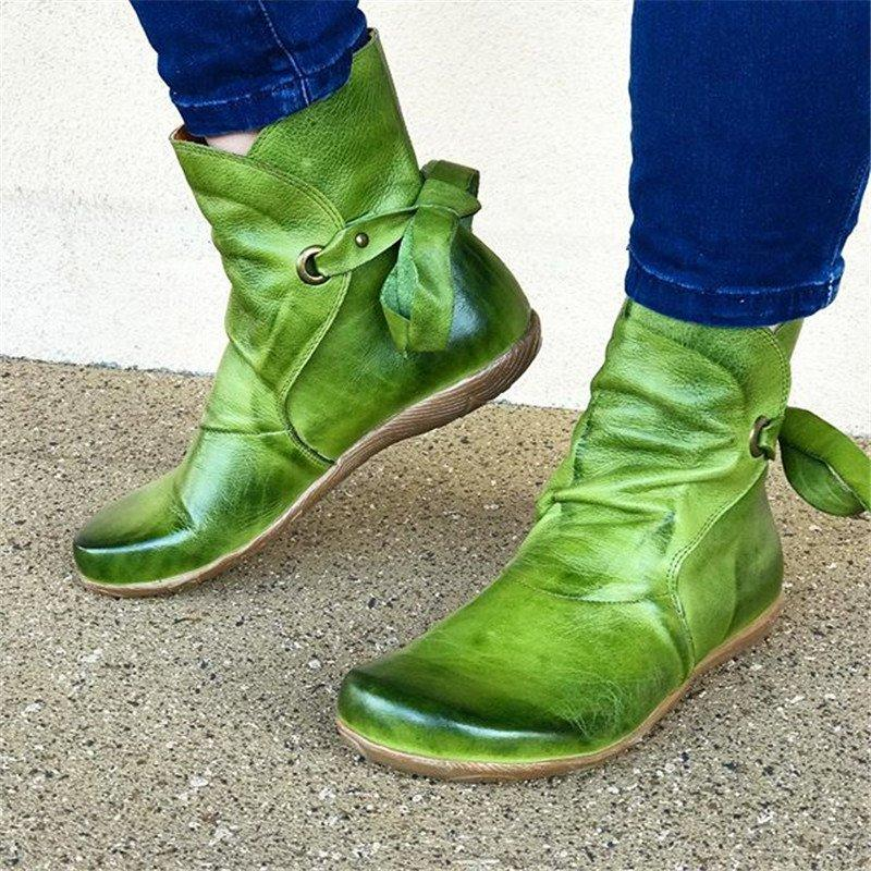 Women Casual Comfy Soft Leather Ankle Boots