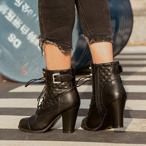 Black Casual Chunky Heel Winter Pu Boots