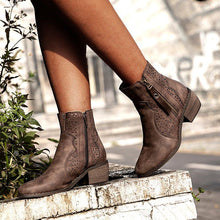 Load image into Gallery viewer, Taupe Med (3-8Cm) Chunky Heel Round Toe Women Boots