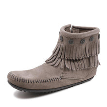 Load image into Gallery viewer, Buckle Flat Heel Artificial Leather Taseel Fringe Ankle Boots