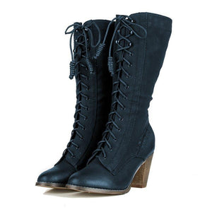 Womens Artificial Leather Chunky Heel Knee-High Winter Boots