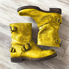 Load image into Gallery viewer, Mid-Calf Artificial Leather Womens Buckle Strap Low Heel Boots