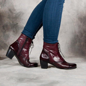 Women Casual Daily Lace Up Zipper Ankle Boots