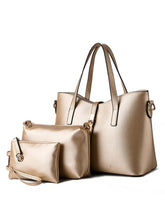 Load image into Gallery viewer, Three Pieces Gold Pu Classic Shoulder Bag