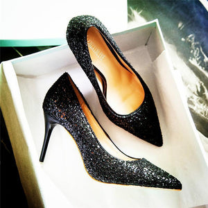 Sequined High Heels Wedding Shoes