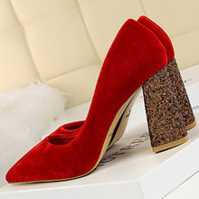 Load image into Gallery viewer, Sexy Sequins Suede Pointed Tip Wedding Party High Heel
