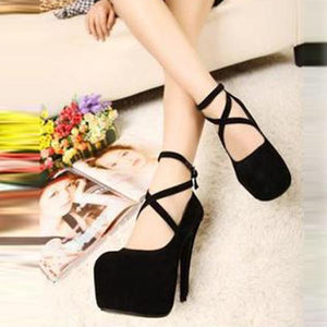 Sexy Cross Clasps High Heels Wedding Party Shoes