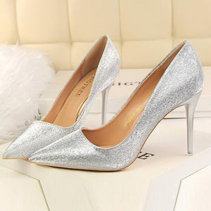 Fashion Sweet Shining Color Slim Heels Shoes