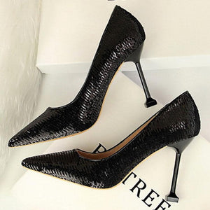Sequins Pointed-Toe Slim Heel Shoes