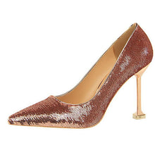 Load image into Gallery viewer, Sequins Pointed-Toe Slim Heel Shoes